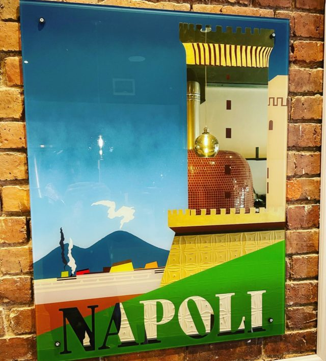 Number 2 of the glasses designed by our super talented friend Alex May Hughes. A bit of Napoli, with the reflection of our handmade oven imported from Napoli.  Countdown for the new Ealing branch opening . Stay tuned.